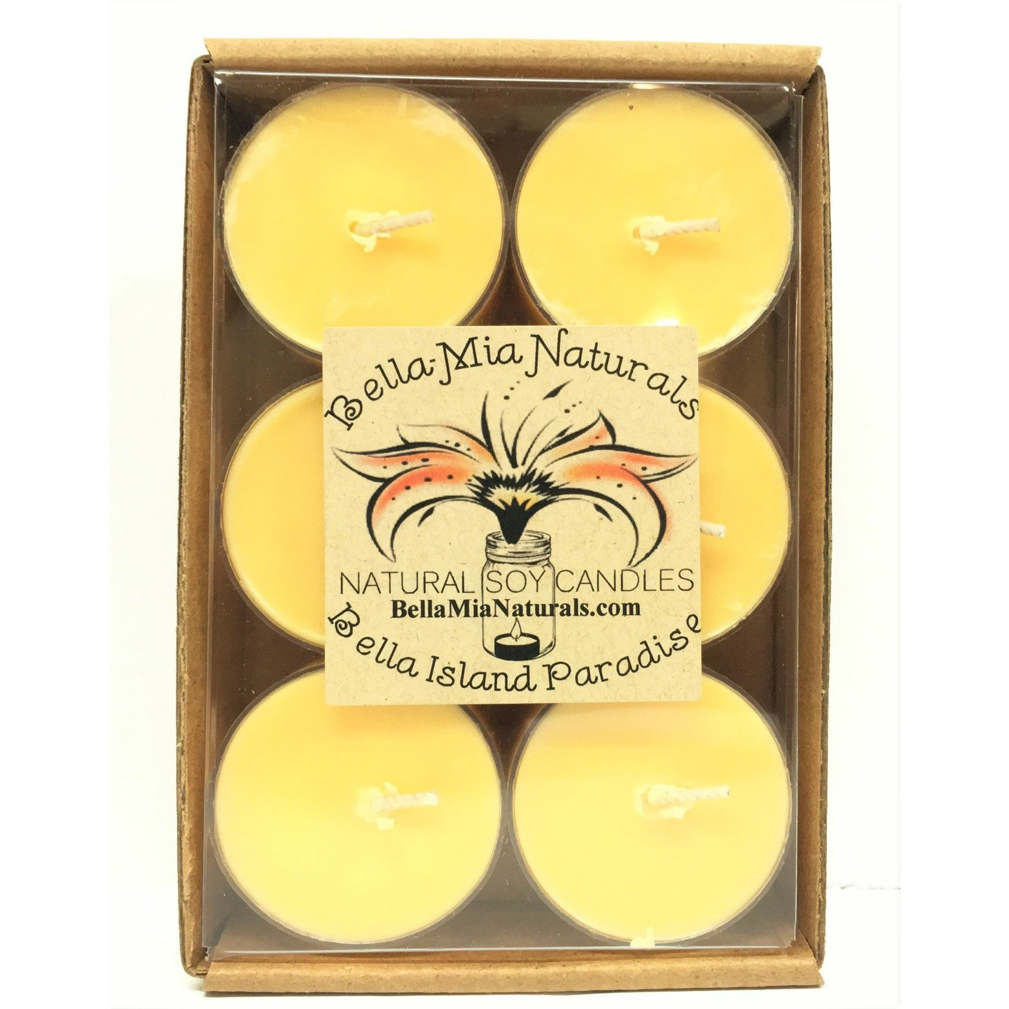 Bella Island Paradise Natural Hand Poured Soy Candles - Tealight-6 Pack - Bella-Mia Naturals All Natural Soy Candles & Lip Balms - 4