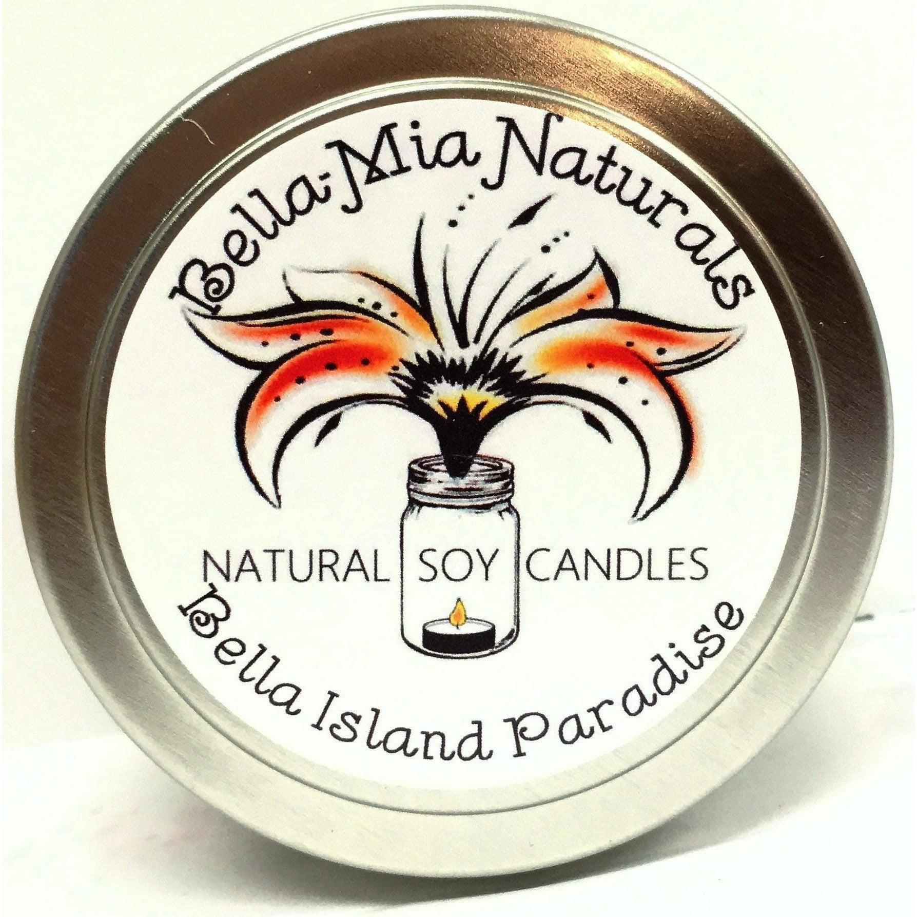 Bella Island Paradise Natural Hand Poured Soy Candles - Tin - Bella-Mia Naturals All Natural Soy Candles & Lip Balms - 6