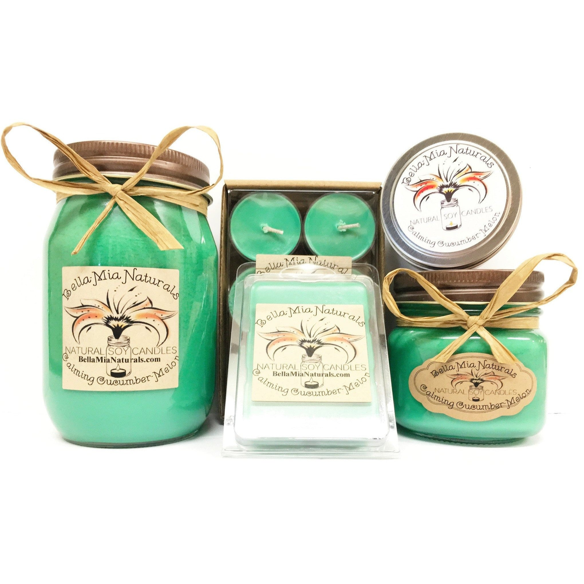 Calming Cucumber-Melon Everyday Natural Soy Candles -  - Bella-Mia Naturals All Natural Soy Candles & Lip Balms - 1