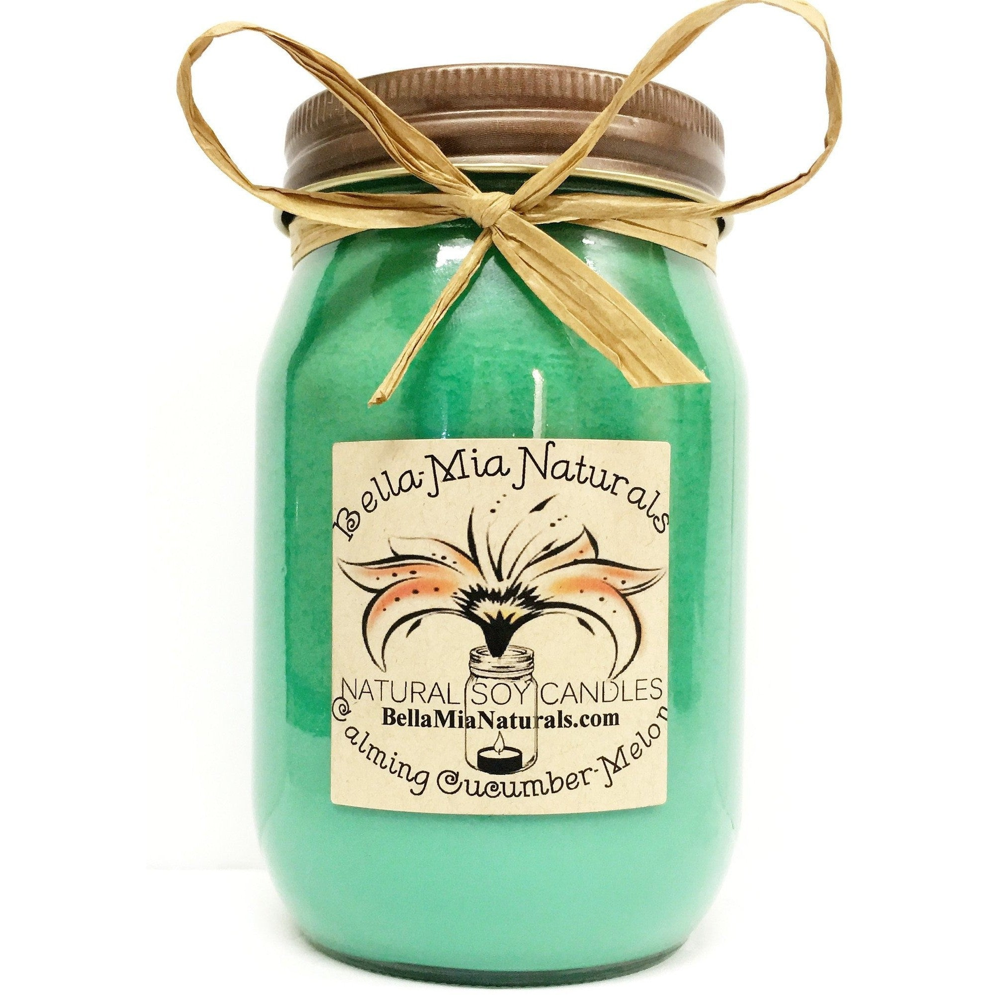 Calming Cucumber-Melon Everyday Natural Soy Candles - Pint - Bella-Mia Naturals All Natural Soy Candles & Lip Balms - 2
