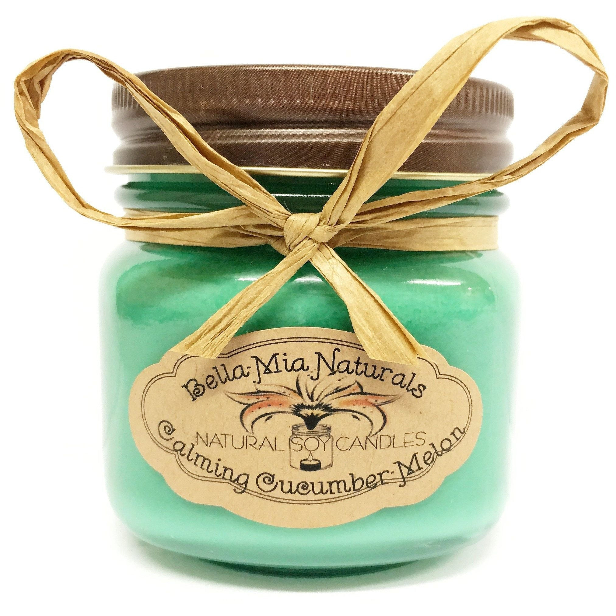Calming Cucumber-Melon Everyday Natural Soy Candles - Half-Pint - Bella-Mia Naturals All Natural Soy Candles & Lip Balms - 3