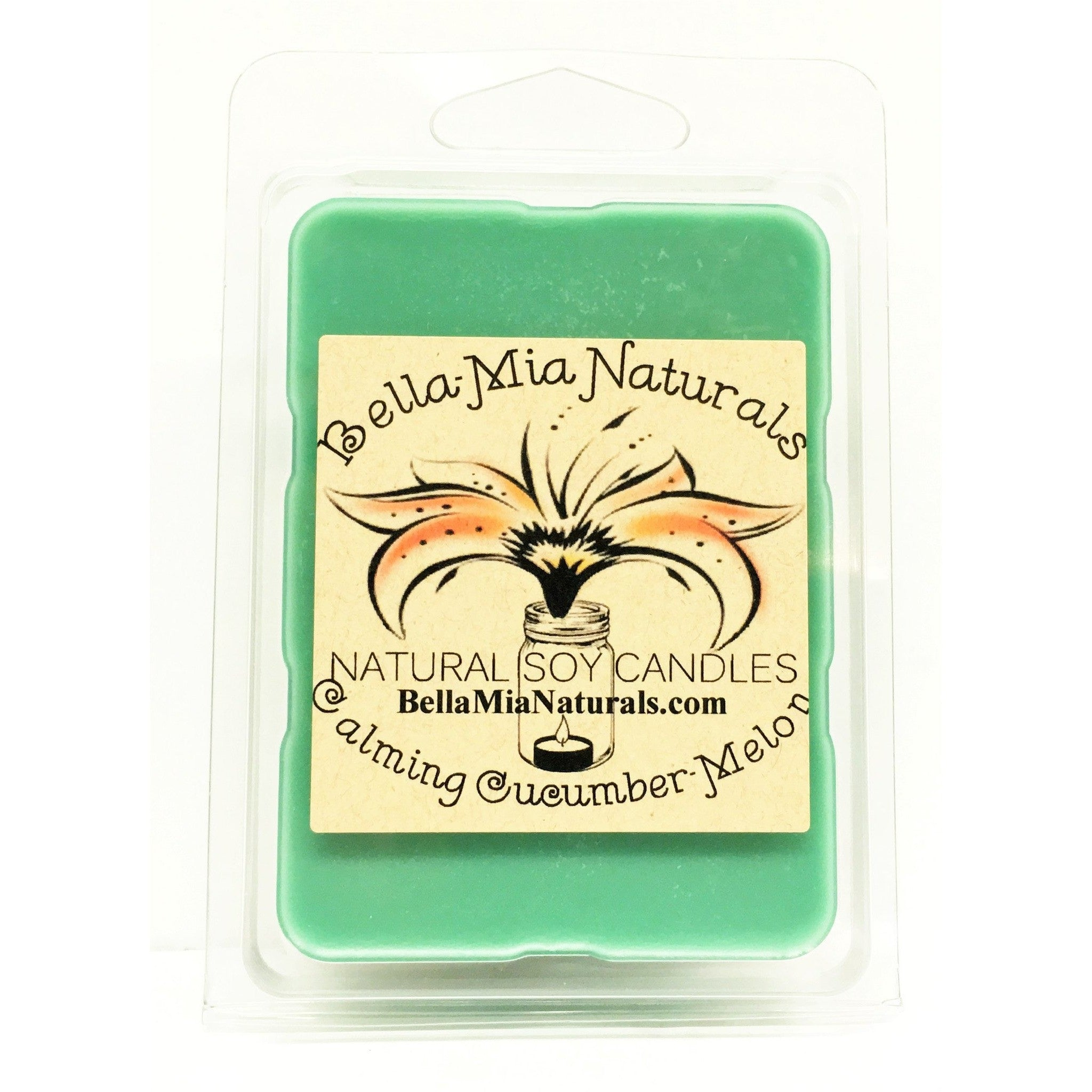Calming Cucumber-Melon Everyday Natural Soy Candles - Melt-6 Pack - Bella-Mia Naturals All Natural Soy Candles & Lip Balms - 5