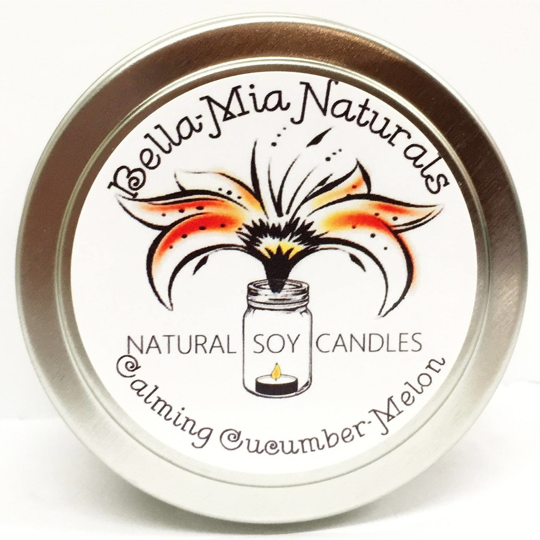 Calming Cucumber-Melon Everyday Natural Soy Candles - Tin - Bella-Mia Naturals All Natural Soy Candles & Lip Balms - 6
