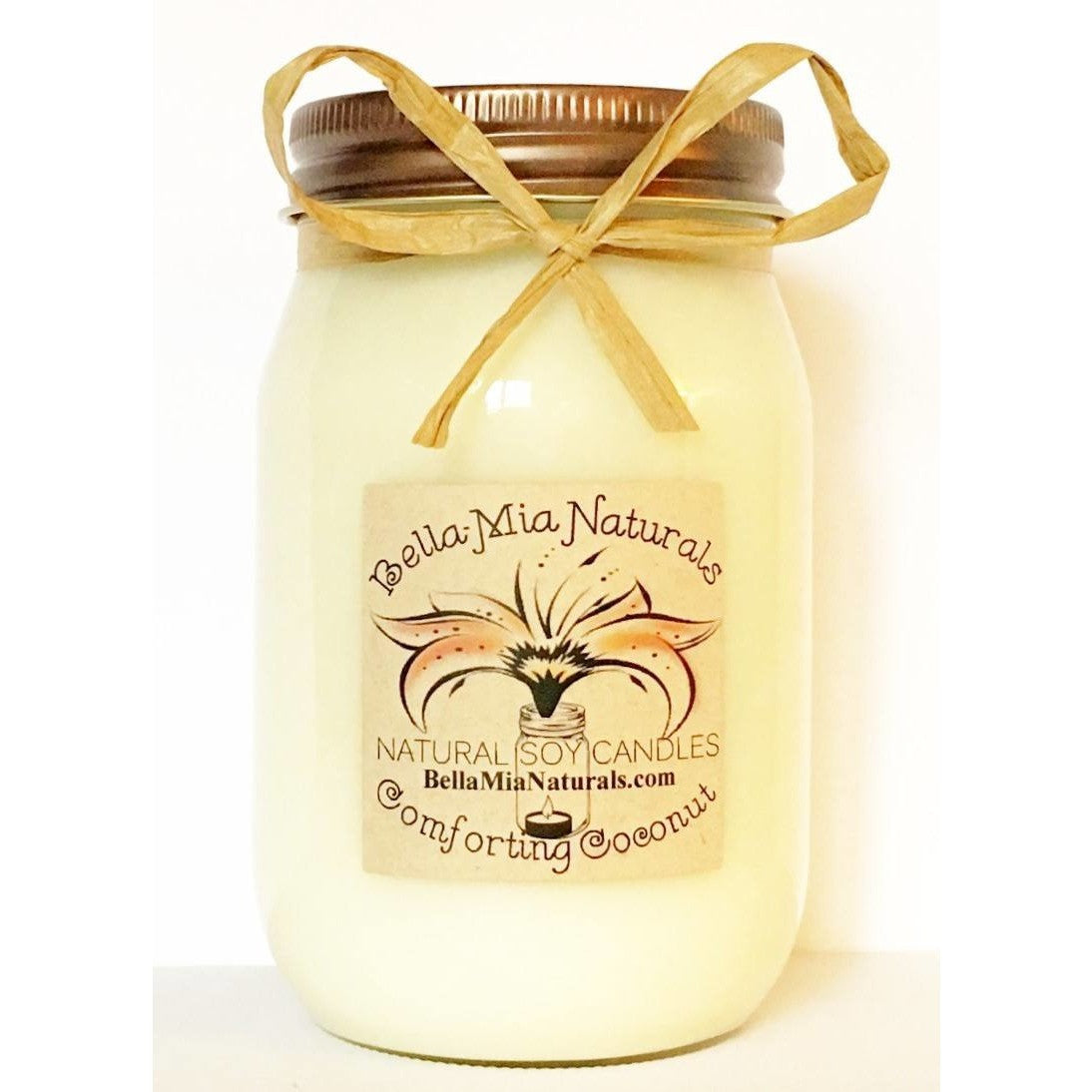 Comforting Coconut Natural Hand Poured Soy Candles - Pint - Bella-Mia Naturals All Natural Soy Candles & Lip Balms - 1