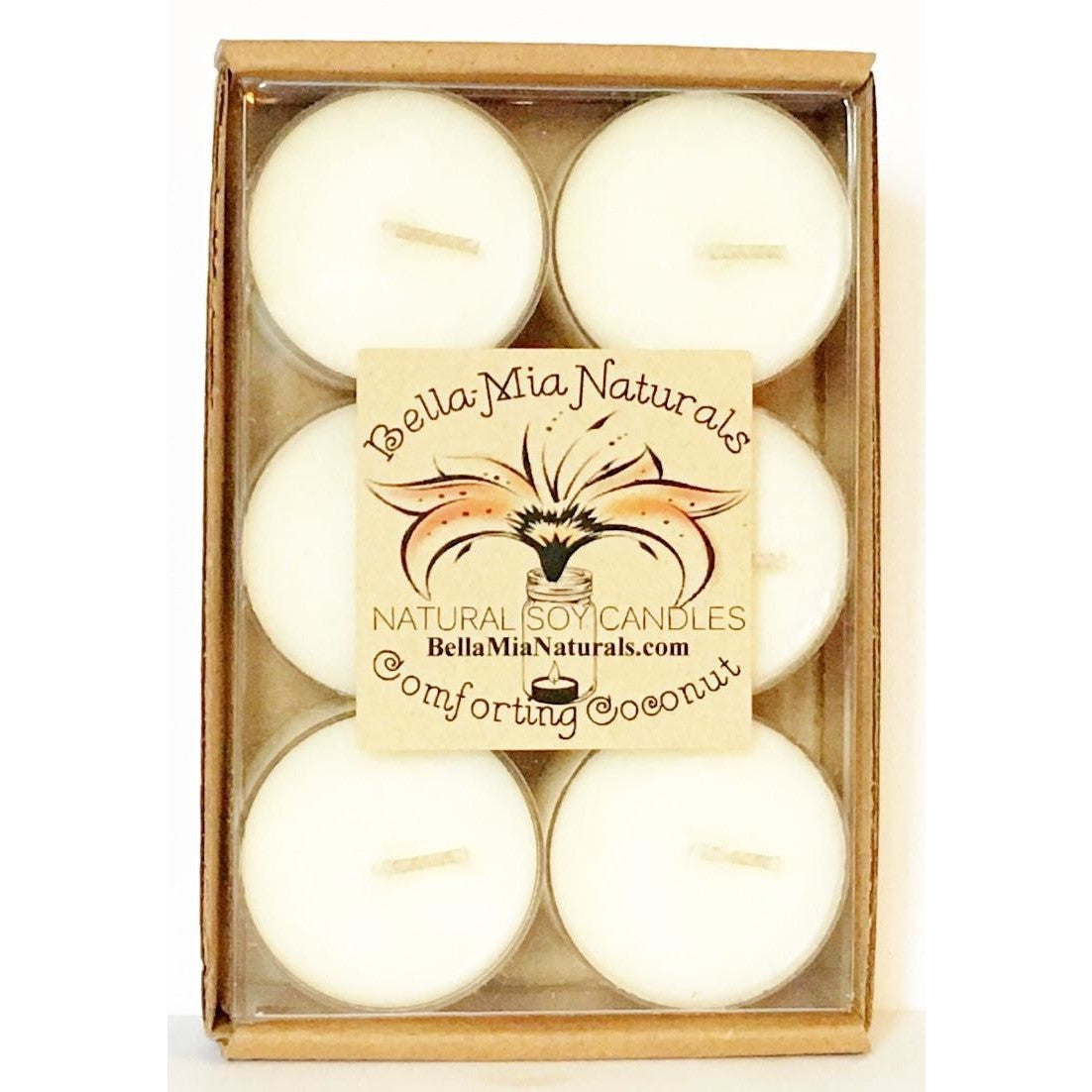 Comforting Coconut Natural Hand Poured Soy Candles - Tealight-6 Pack - Bella-Mia Naturals All Natural Soy Candles & Lip Balms - 3