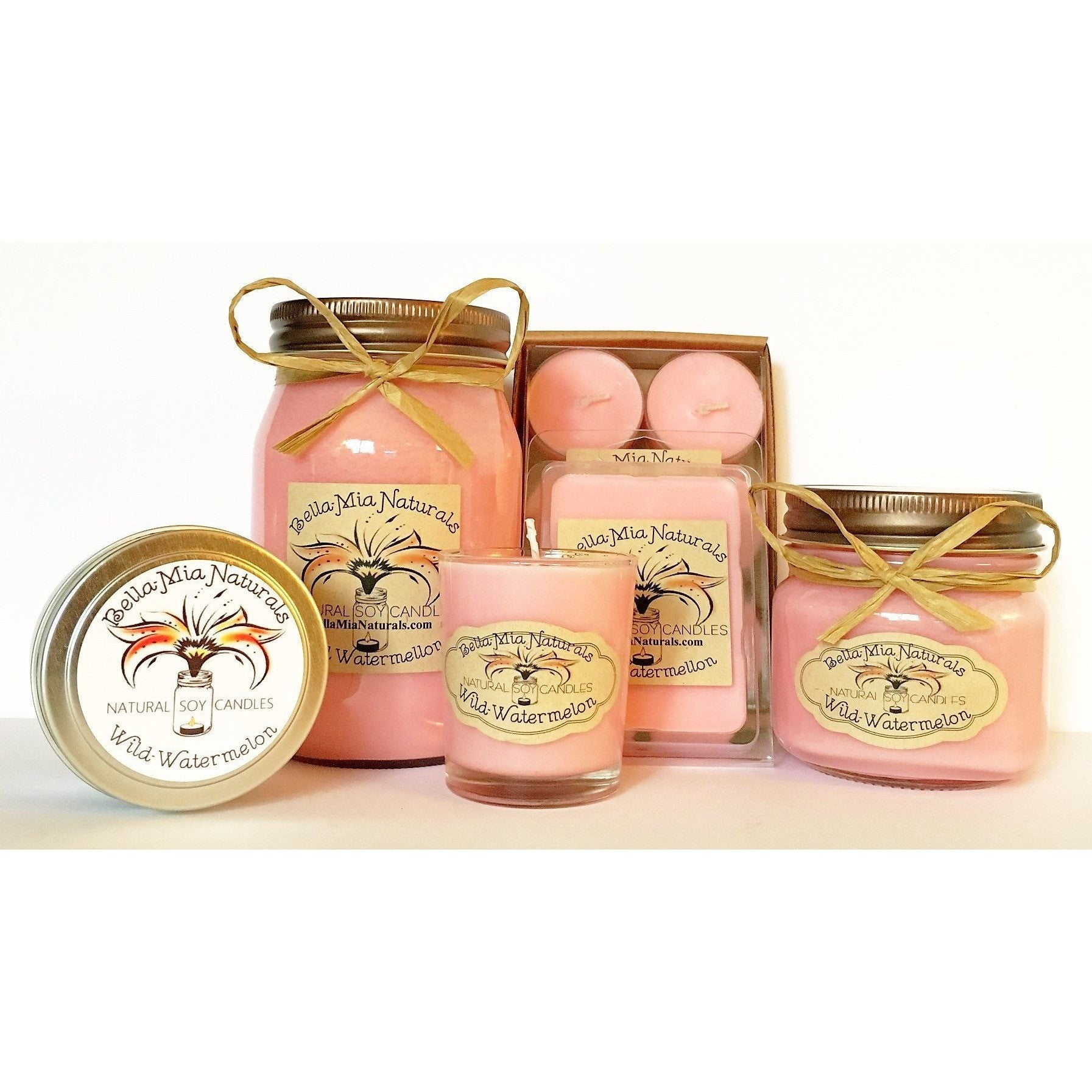 Wild-Watermelon Natural Hand Poured Soy Candles -  - Bella-Mia Naturals All Natural Soy Candles & Lip Balms - 1