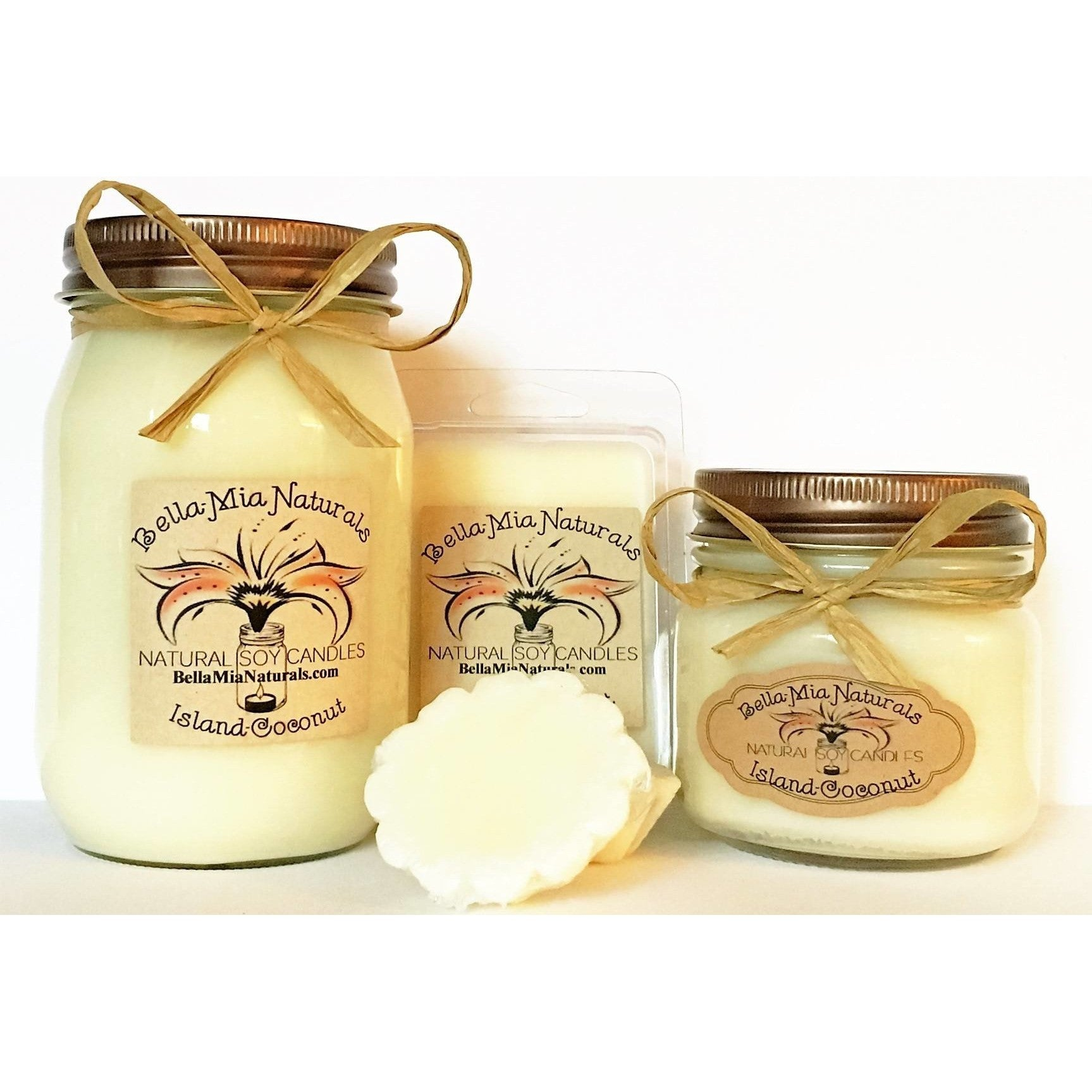 Island-Coconut Natural Hand Poured Soy Candles -  - Bella-Mia Naturals All Natural Soy Candles & Lip Balms - 1