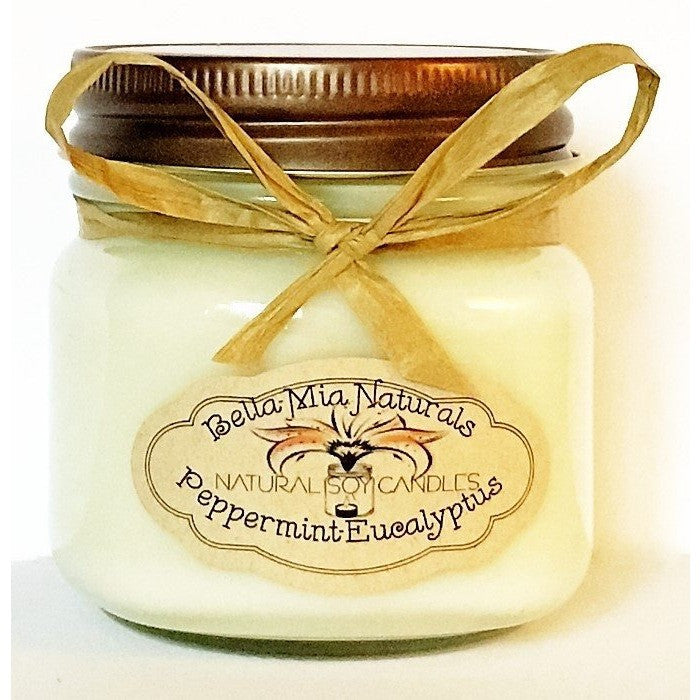 Peppermint-Eucalyptus Natural Hand Poured Soy Candles - Half-Pint - Bella-Mia Naturals All Natural Soy Candles & Lip Balms - 3