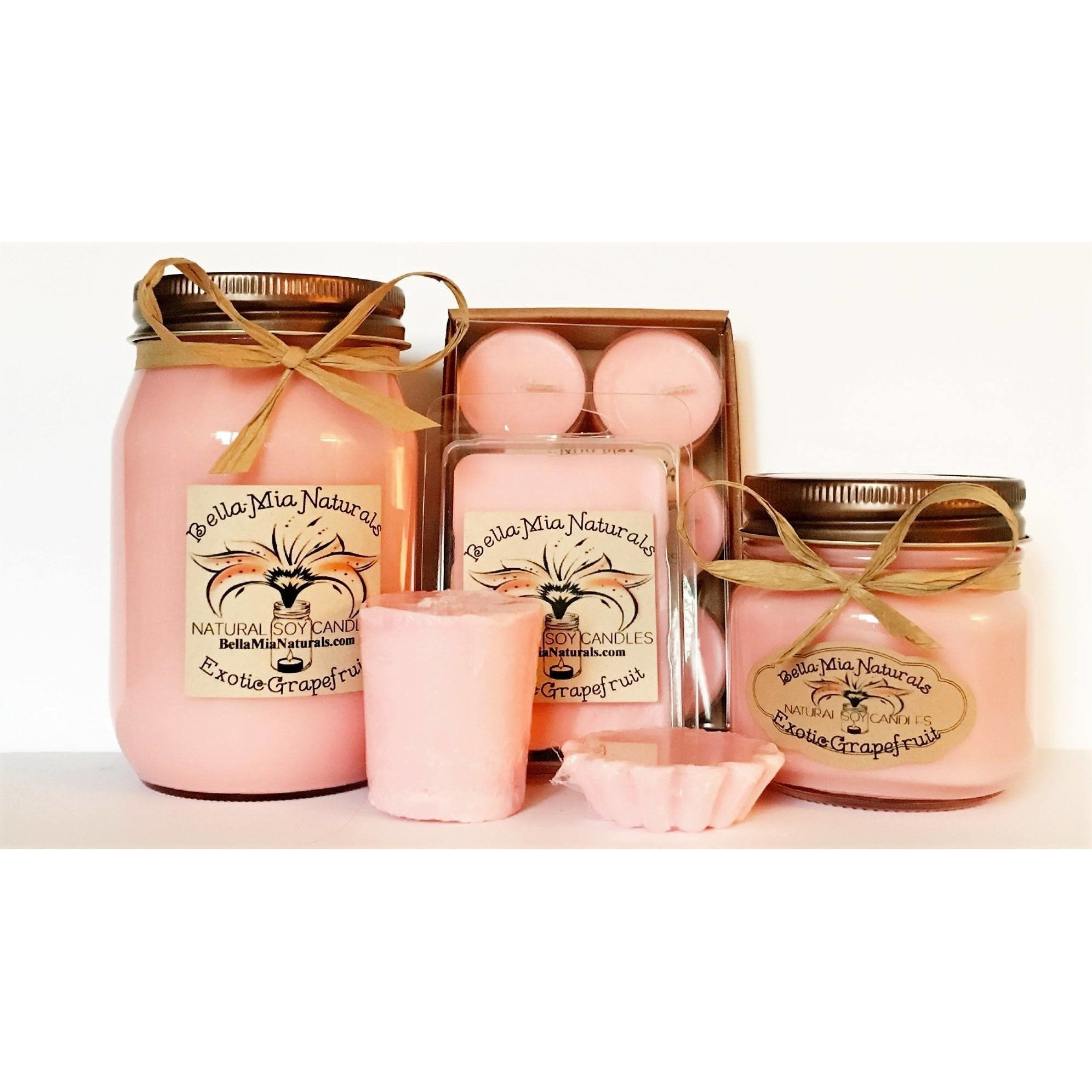 Exotic-Grapefruit Natural Hand Poured Soy Candles -  - Bella-Mia Naturals All Natural Soy Candles & Lip Balms - 1