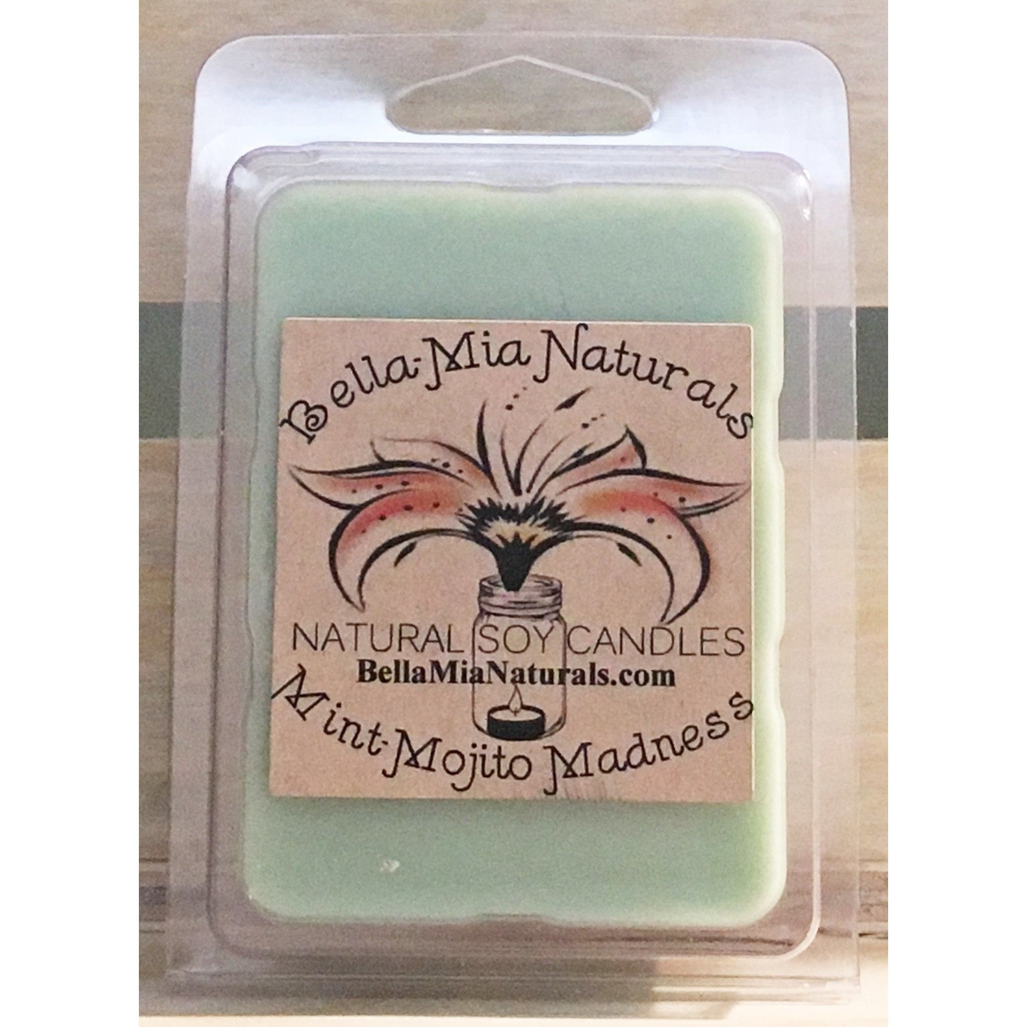 Mint-Mojito Natural Hand Poured Soy Candles - Melt-6 Pack - Bella-Mia Naturals All Natural Soy Candles & Lip Balms - 4