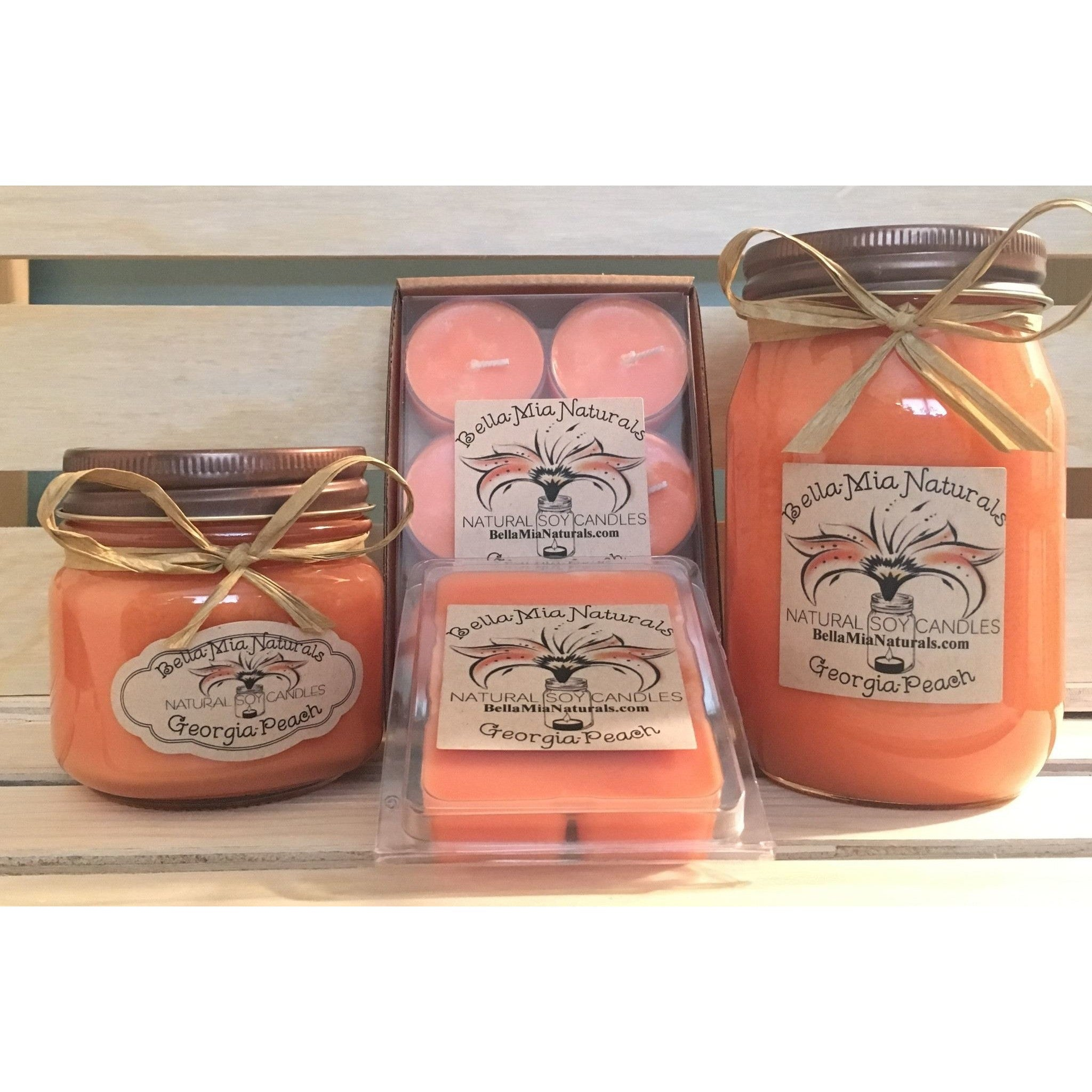 Georgia-Peach Natural Hand Poured Soy Candles -  - Bella-Mia Naturals All Natural Soy Candles & Lip Balms - 1