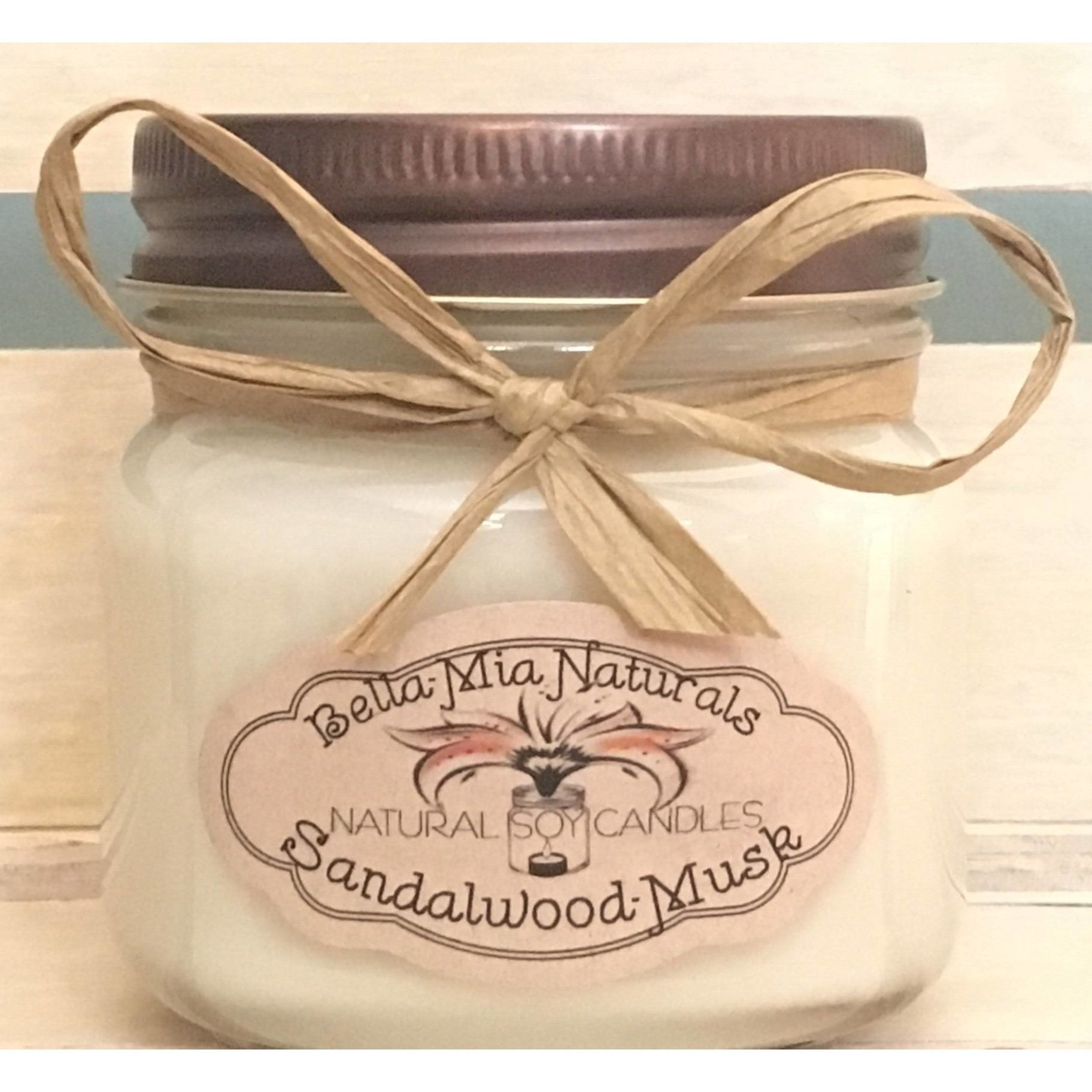 Sandlewood-Musk Natural Hand Poured Soy Candles & Melts - Half-Pint - Bella-Mia Naturals All Natural Soy Candles & Lip Balms - 3