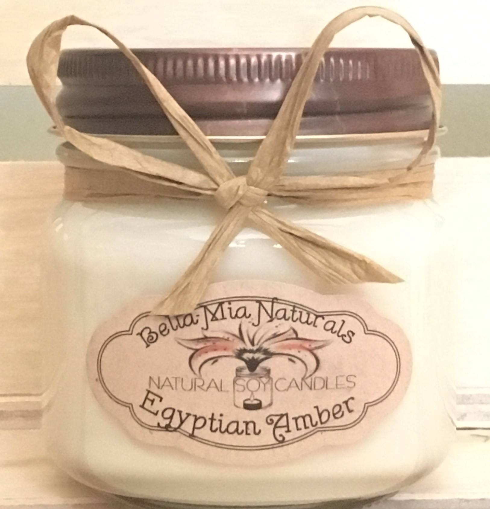 Egyptian-Amber Natural Hand Poured Soy Candles & Melts - Half-Pint - Bella-Mia Naturals All Natural Soy Candles & Lip Balms - 3