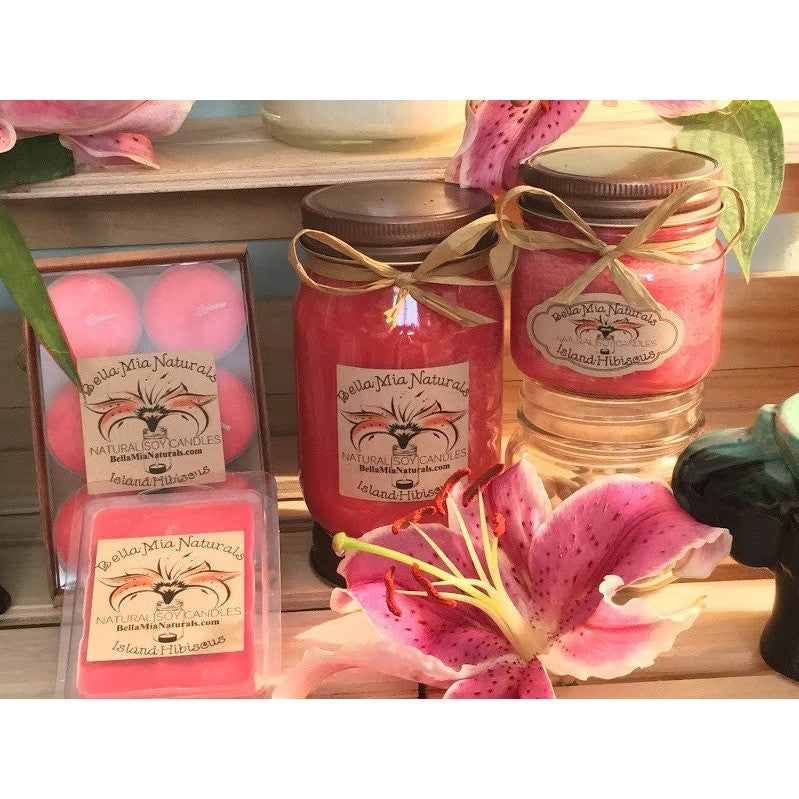 Island-Hibiscus Natural Hand Poured Soy Candles -  - Bella-Mia Naturals All Natural Soy Candles & Lip Balms - 1