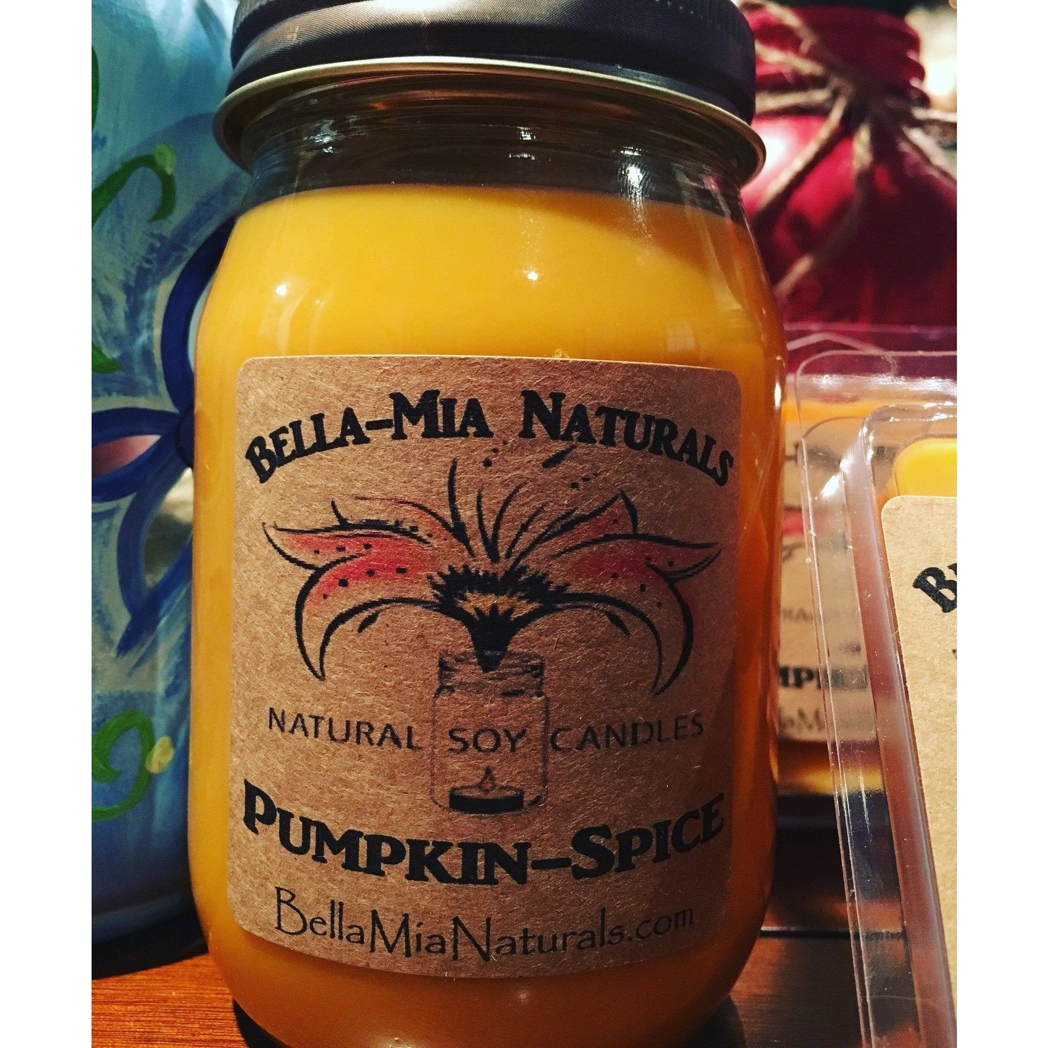Pumpkin-Spice Natural Hand Poured Soy Candles - Pint - Bella-Mia Naturals All Natural Soy Candles & Lip Balms - 1