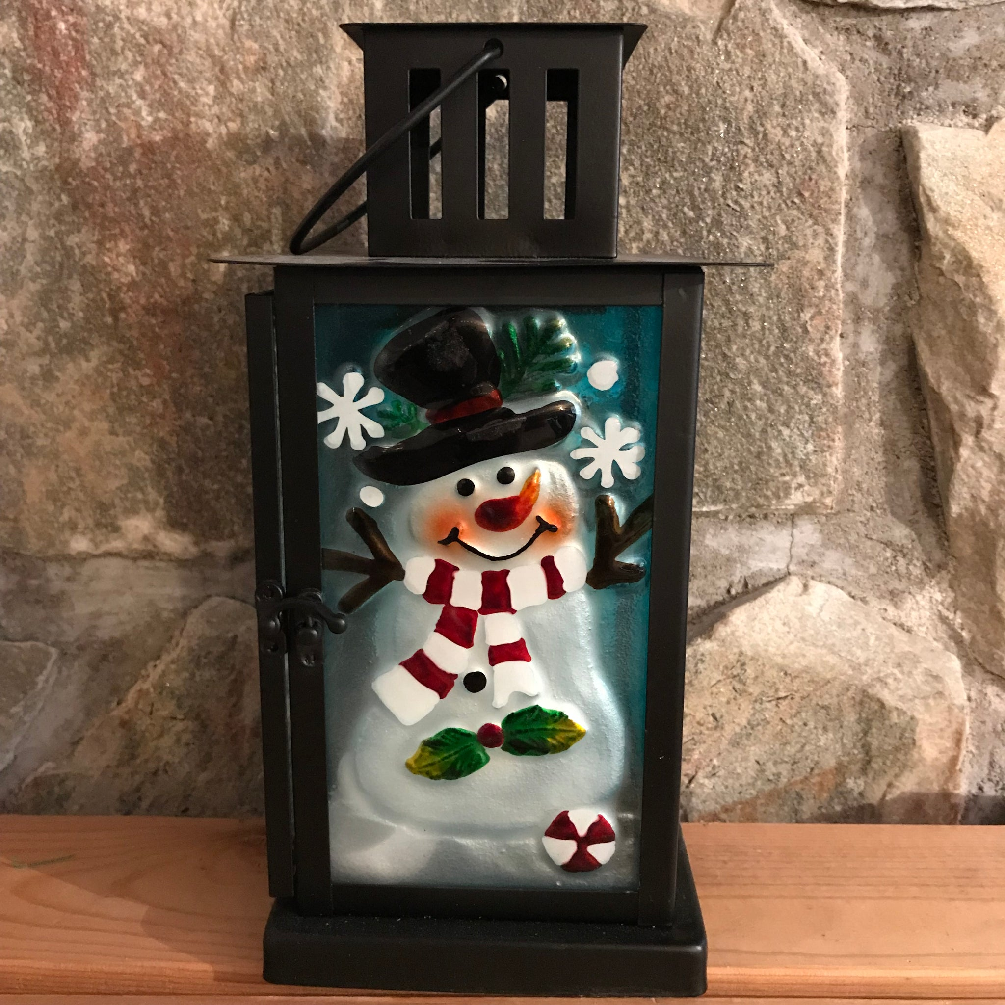 Snowman Glass/Metal Holiday Candle Lantern