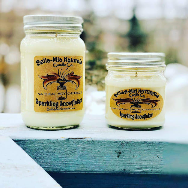Sparkling Snowflakes Natural Hand Poured Soy Candles