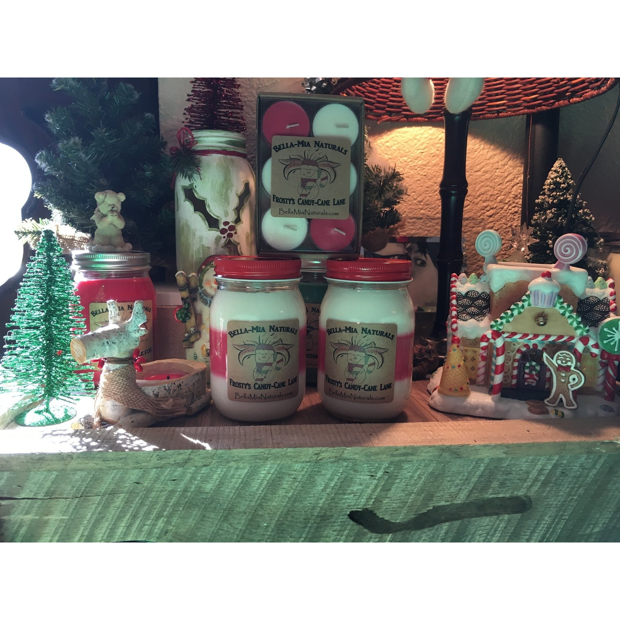 Frosty's Candy-Cane Lane Natural Hand Poured Soy Candles -  - Bella-Mia Naturals All Natural Soy Candles & Lip Balms - 1