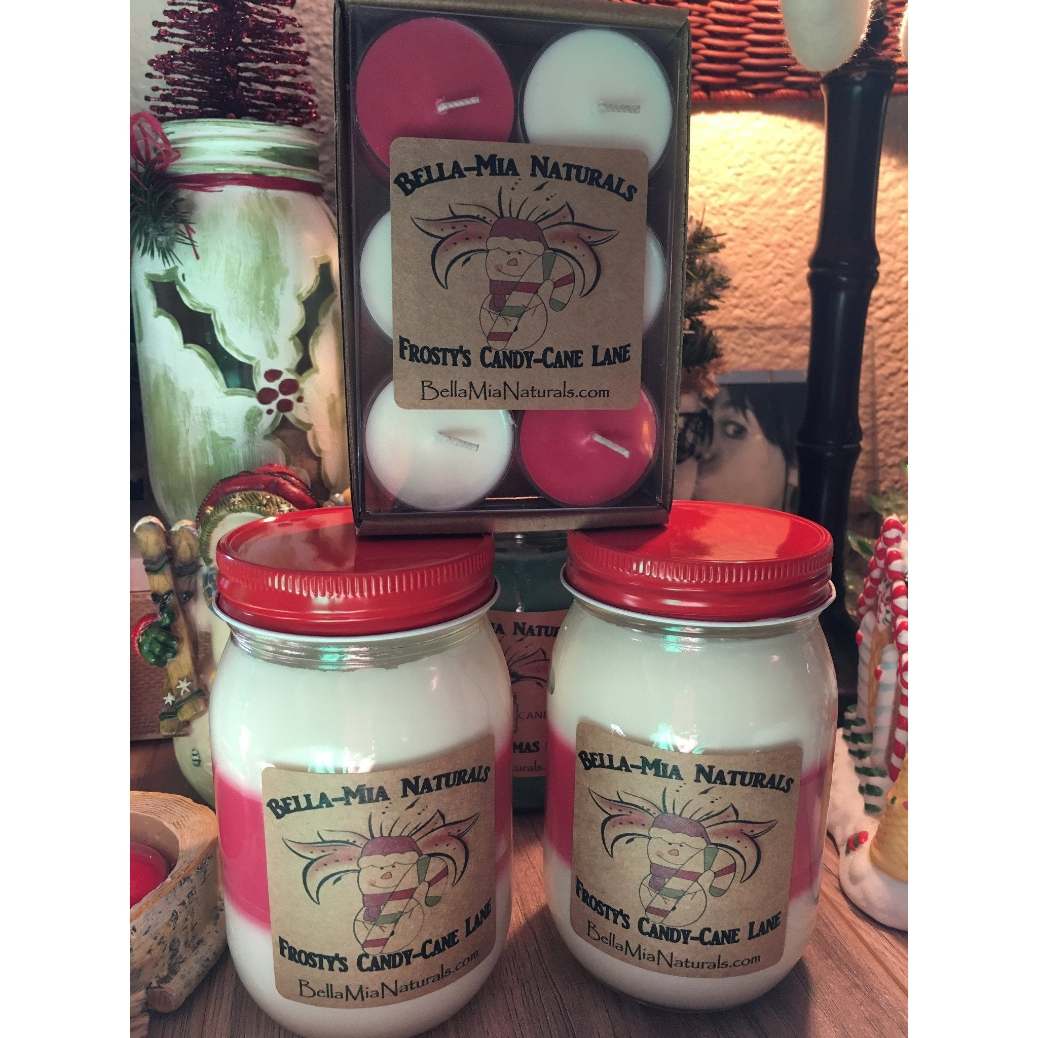 Frosty's Candy-Cane Lane Natural Hand Poured Soy Candles -  - Bella-Mia Naturals All Natural Soy Candles & Lip Balms - 3