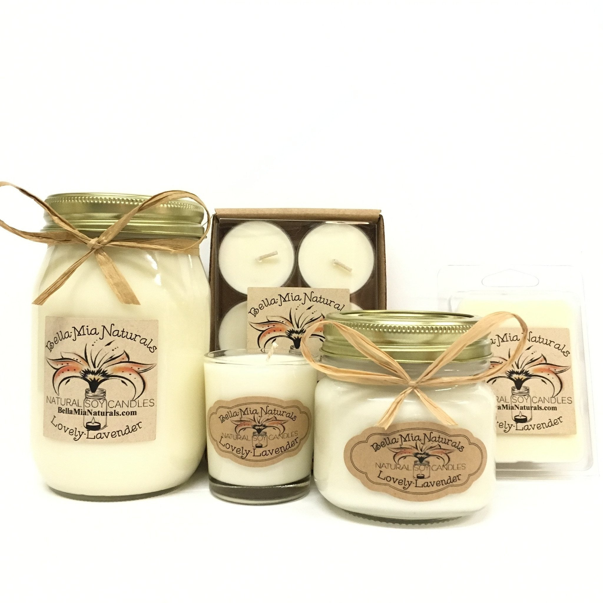Lovely-Lavender Natural Hand Poured Soy Candles -  - Bella-Mia Naturals All Natural Soy Candles & Lip Balms - 1