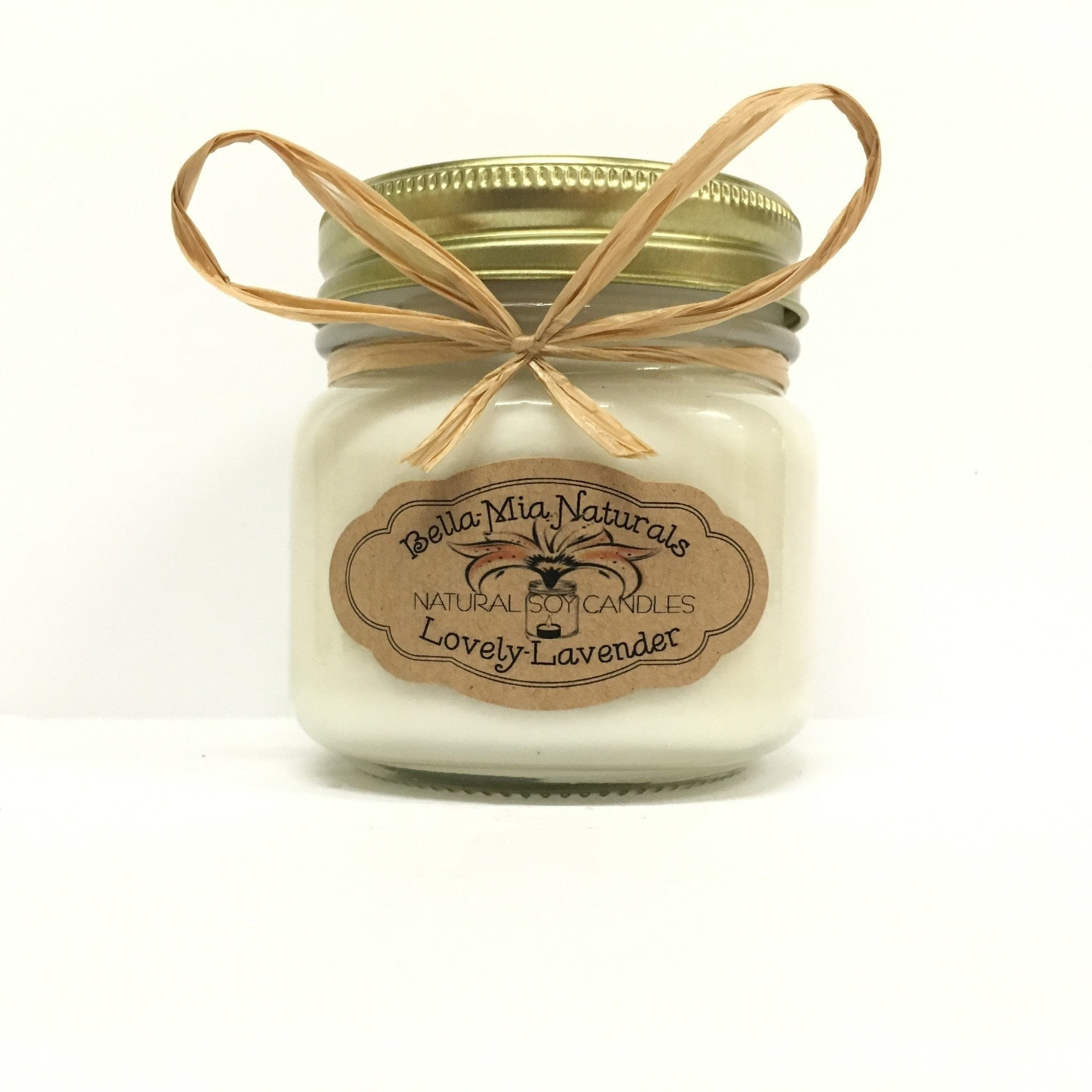 Lovely-Lavender Natural Hand Poured Soy Candles - Half-Pint - Bella-Mia Naturals All Natural Soy Candles & Lip Balms - 4
