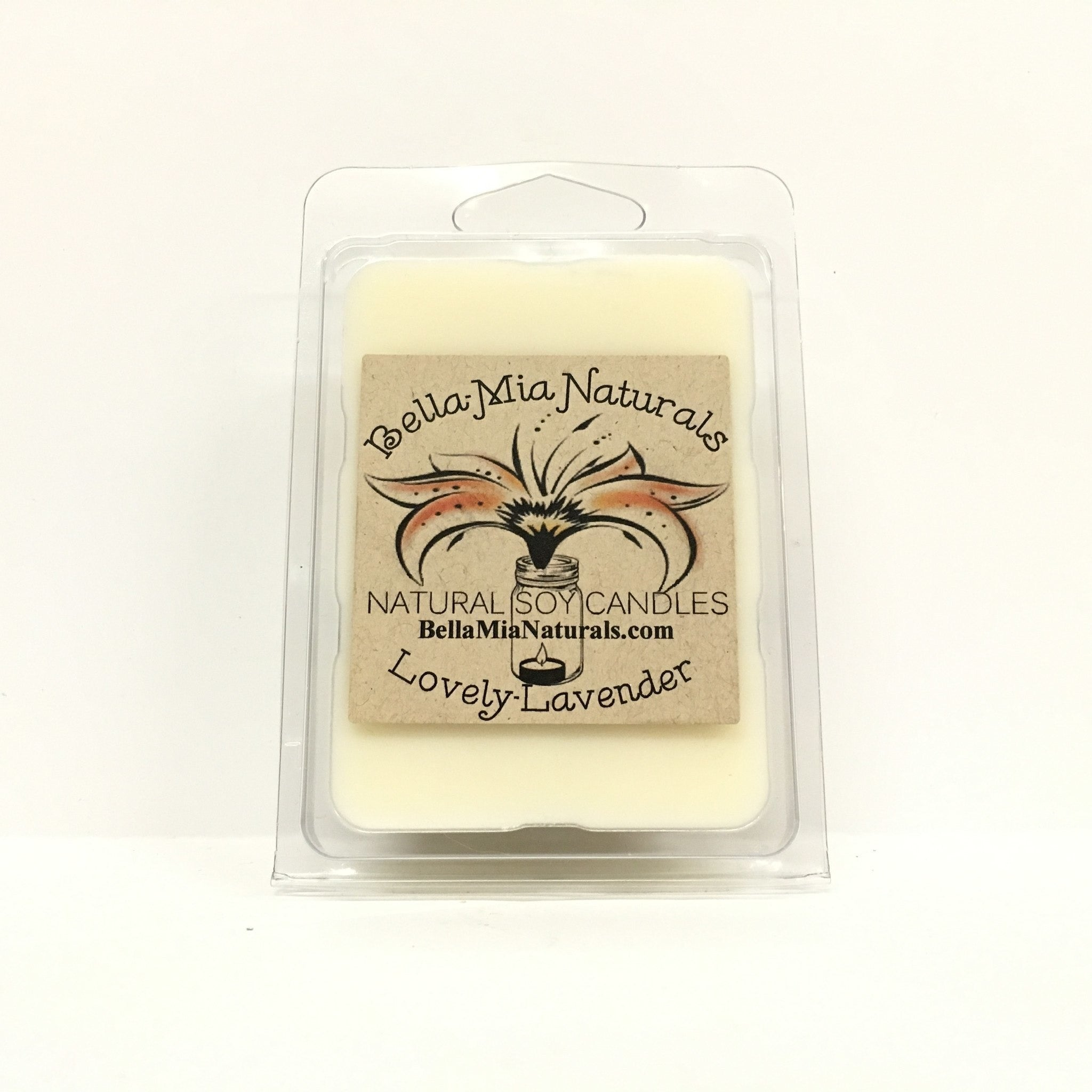 Lovely-Lavender Natural Hand Poured Soy Candles - Melt-6 Pack - Bella-Mia Naturals All Natural Soy Candles & Lip Balms - 5
