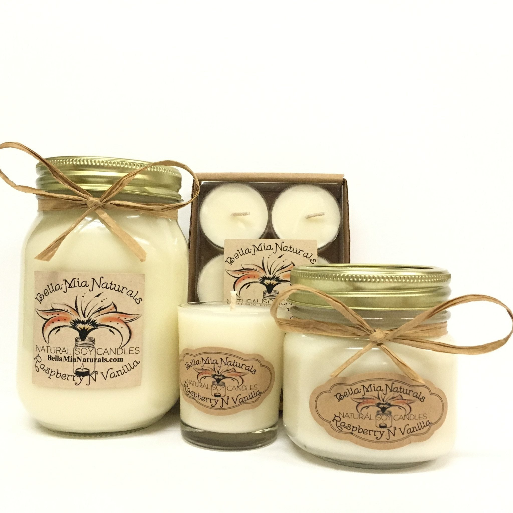Raspberry N' Vanilla Natural Hand Poured Soy Candles -  - Bella-Mia Naturals All Natural Soy Candles & Lip Balms - 1