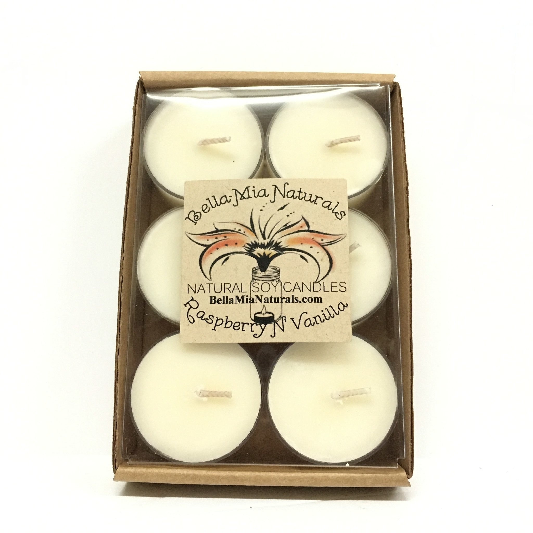 Raspberry N' Vanilla Natural Hand Poured Soy Candles - Tealight-6 Pack - Bella-Mia Naturals All Natural Soy Candles & Lip Balms - 3
