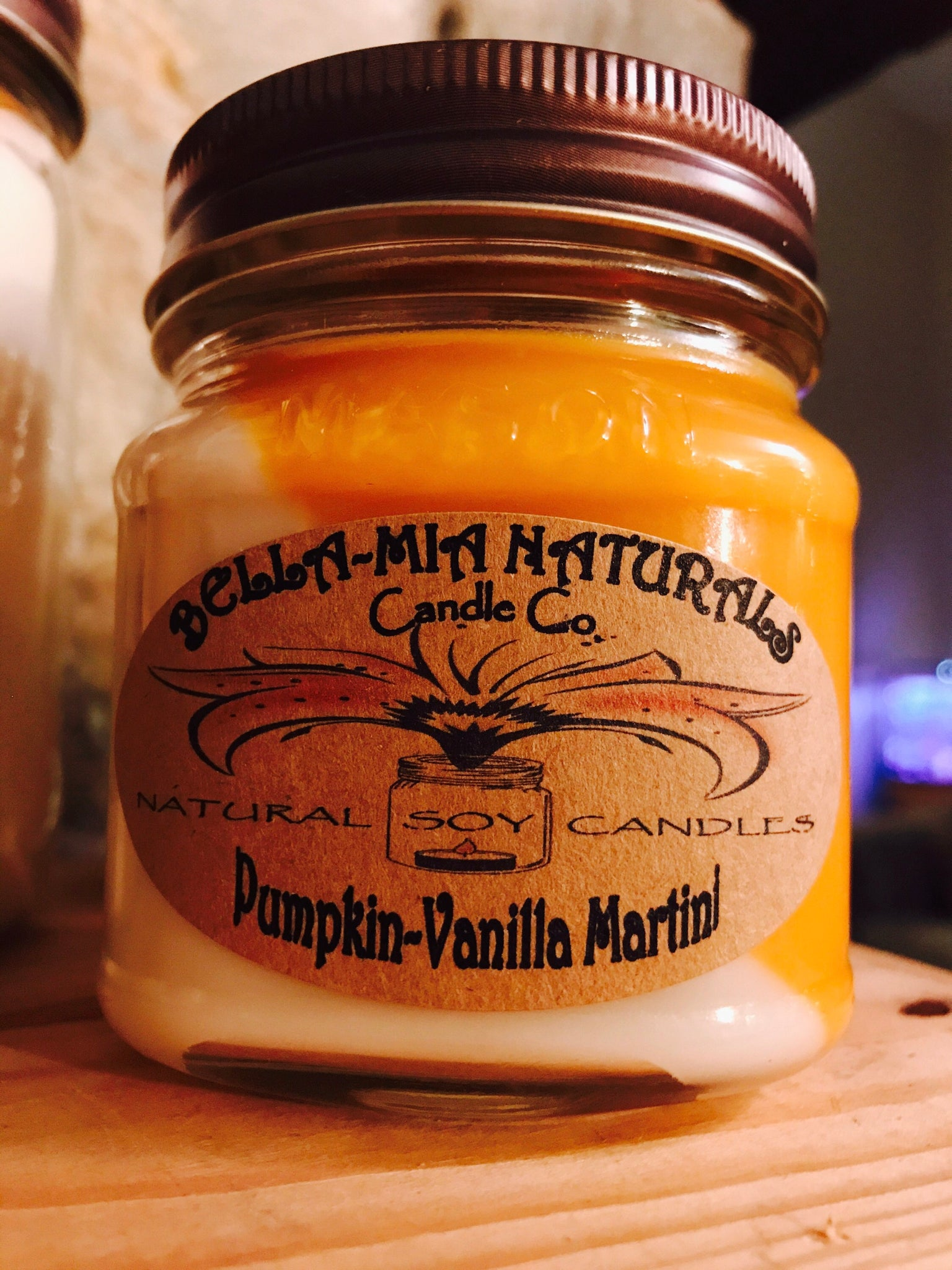 Pumpkin-Vanilla Martini Natural Hand Poured Soy Candles