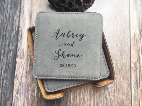 Set of 6 leatherette coasters with coaster holder - personalized, engraved with names and date