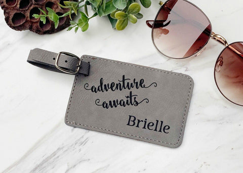 Adventure Awaits Luggage Tag Travel Bag Tag Engraved Travel Tag Graduation Gift Newlywed Personalized Honeymoon Luggage Tag Honeymoon Gift
