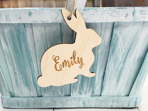 Wood Easter basket tag engraved with name - engraved easter dinner place card