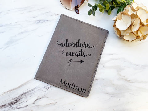Adventure Awaits Passport Holder Engraved Passport Wallet Travel Gift Business Gift Faux Leather Passport Cover Graduation Gift