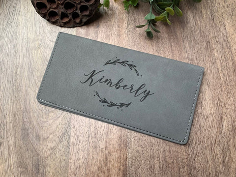 Personalized Leatherette Checkbook Holder Engraved For Her