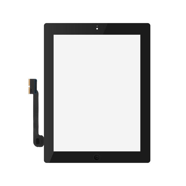 Digitizer Touch Screen with Adhesive Tape and Home Button for iPad 3 4 [Standard Plus / Black]