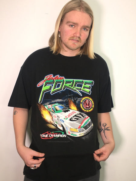 John Force Castrol 11 Time Champion Drag Racing Vintage Tee