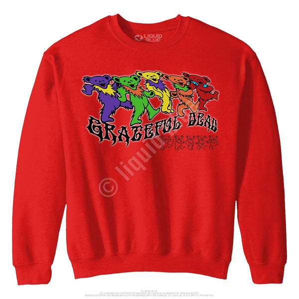 Grateful Dead Trippy Bears Red Sweatshirt