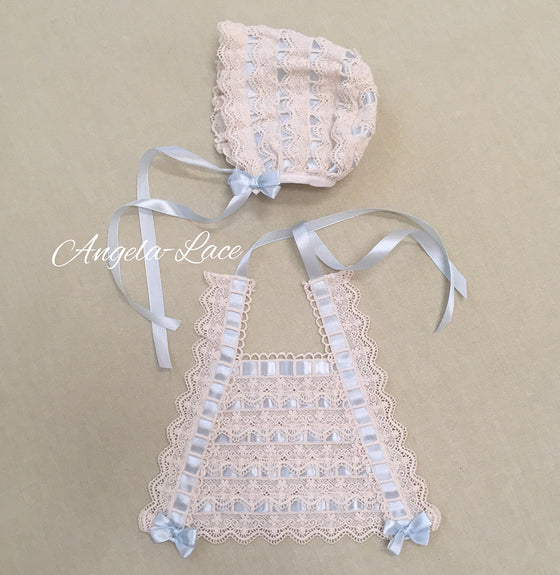 Baby Bonnet, Bib & Wrap Set