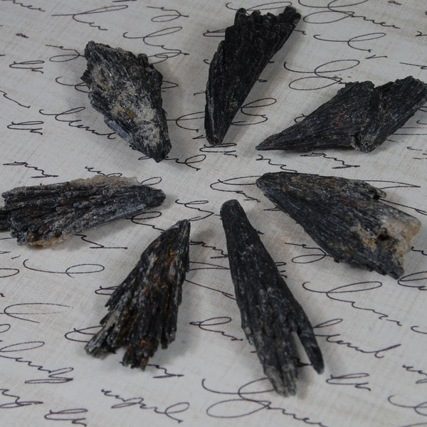 Black kyanite crystal fans/clusters