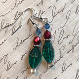Tiny Evil Genius Earrings: green/red/blue