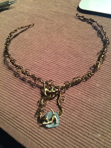 RESERVED Roman glass cat necklace