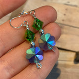 Tiny Evil Genius Earrings: blue and green