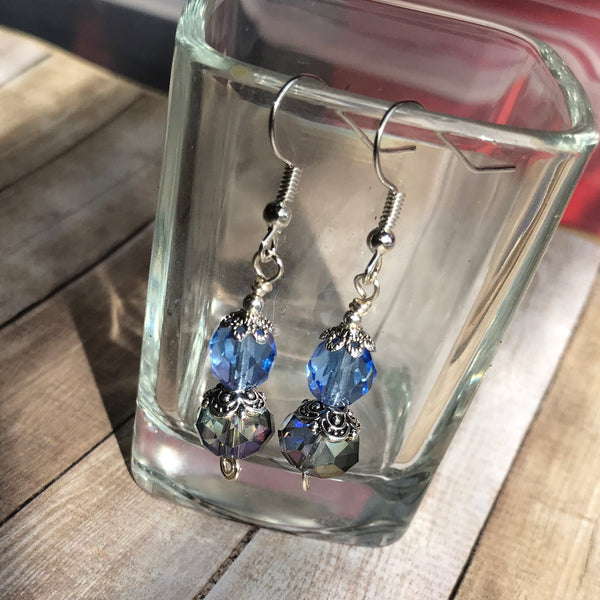 Tiny Evil Genius Earrings: blues