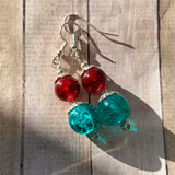 Tiny Evil Genius Earrings: red and teal