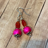 Tiny Evil Genius Earrings: pink and orange, very bright