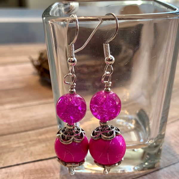 Tiny Evil Genius Earrings: REALLY PINK
