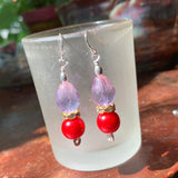 Tiny Evil Genius Earrings: colorshift and coral-red
