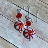 Tiny Evil Genius Earrings: peppermint candy