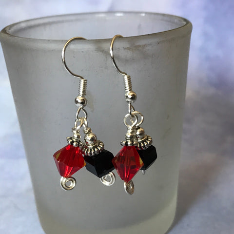 Tiny Evil Genius Earrings: red and black