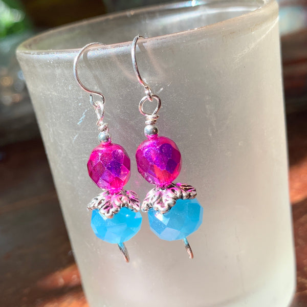 Tiny Evil Genius Earrings: pink and blue